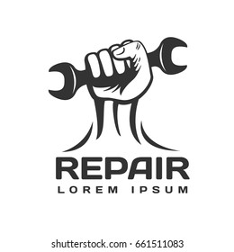 Hand with wrench logo. Tools icon. Car repair service logo. Repair logo.
