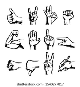 Hand wrist gesture black engraving icon set with thumb up down fist middle finger and other gestures vector illustration