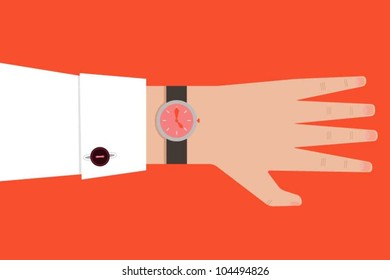Hand with a wrist watch