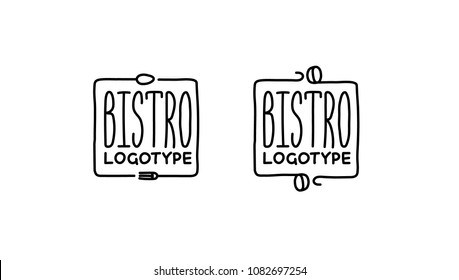 Hand write vector logotype for bistro, cafe, restaurant, kitchen, food company etc.