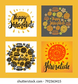 Hand writen set of cards with lettering Maslenitsa and Shrovetide with ornaments. National holiday. Maslenitsa is Slavic traditional holiday. Carnival. Hand drawn vector illusration. Round ornament.