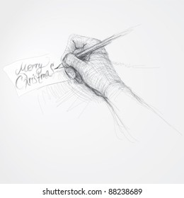 """Hand writes """"Merry Christmas"""" / realistic sketch (not auto-traced)"""
