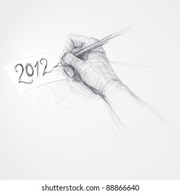 """Hand writes """"2012"""" / realistic sketch (not auto-traced)"""