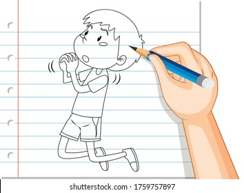 Hand writing of boy with begging pose outline illustration