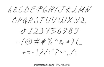 hand writing font in vector design graphic. uppercase and regular alphabet, numeric, and symbols letter illustration for book, note, magazine, poster, etc. modern handwritten typography.