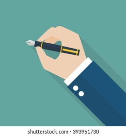 Hand writing with fountain pen. Vector illustration