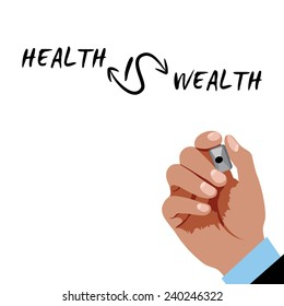 Hand writing - Health is wealth with black marker on a white board