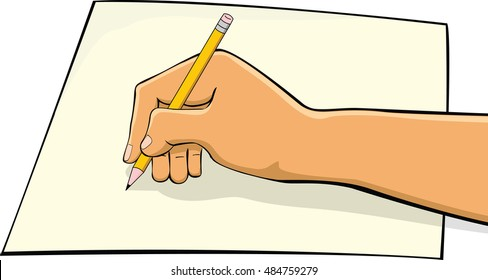 A hand writing a letter with a pencil and paper