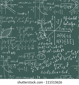 Hand writing mathematics formula on seamless blackboard