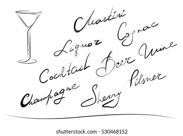 Hand writing of names cocktails. Isolated
