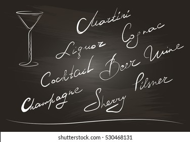Hand writing of names cocktails on a background of chalkboard. Isolated