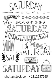 Hand writing set of Saturday title. Header for daily planner, schedule, bullet journal, notes. Fifteen versions of writing days. Decorative template for calendar date