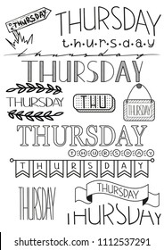 Hand writing set of Thursday title. Header for daily planner, schedule, bullet journal, notes. Fifteen versions of writing days. Decorative template for calendar date