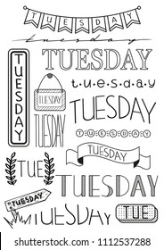 Hand writing set of Tuesday title. Header for daily planner, schedule, bullet journal, notes. Fifteen versions of writing days. Decorative template for calendar date