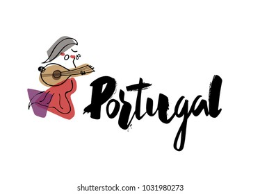 """Hand writing """"Portugal"""" with singer illustration"""