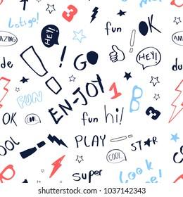 Hand writing slogan pattern vector.