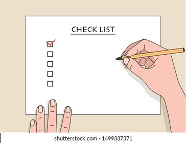 Hand writing something with a pen on a checklist note paper. hand drawn style vector design illustrations.