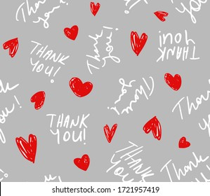 Hand Writing Thank You Text with Small Hearts Repeating Vector Pattern Isolated Background