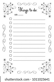 Hand writing Things to do list in a flower frame, check boxes with lines, vector illustration
