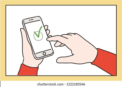 A hand writing a to-do list on your smartphone. hand drawn style vector design illustrations.