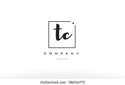 hand writing written black white alphabet company letter logo square background small lowercase design creative vector icon template tc t c
