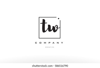 hand writing written black white alphabet company letter logo square background small lowercase design creative vector icon template tw t w