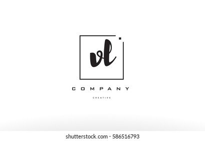 hand writing written black white alphabet company letter logo square background small lowercase design creative vector icon template vl v l