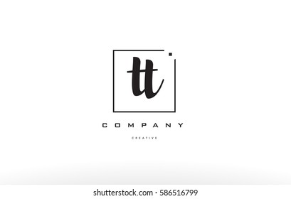 hand writing written black white alphabet company letter logo square background small lowercase design creative vector icon template tt t