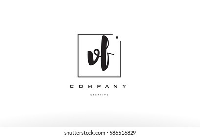 hand writing written black white alphabet company letter logo square background small lowercase design creative vector icon template vf v f