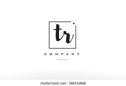 hand writing written black white alphabet company letter logo square background small lowercase design creative vector icon template tr t r