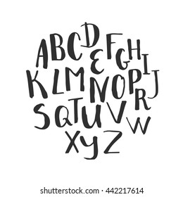 Hand written alphabet. Modern calligraphy font. Vector letters isolated and easy to use. Educational poster.