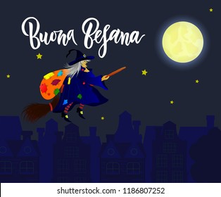 Hand written brush lettering phrase Buona Befana meaning Happy Epiphany with witch on broomstick against the background of night city. Template of greeting card, invitation, banner, print, poster