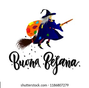 Hand written brush lettering phrase Buona Befana meaning Happy Epiphany with witch with bag of gifts and coal. Template of greeting card, invitation, banner, print, poster
