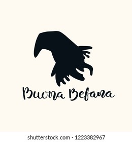 Hand written calligraphic Italian lettering quote Buona Befana, Happy Epiphany, with witch head. Isolated objects on white. Hand drawn vector illustration. Design concept, element for card, banner.