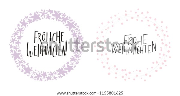 Hand Written Calligraphic Lettering Quotes Frohliche Stock