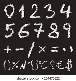 Hand written chalk numbers 0, 1, 2, 3, 4, 5, 6, 7, 8, 9 mathematical signs and most important symbols on black background. Real chalk texture.