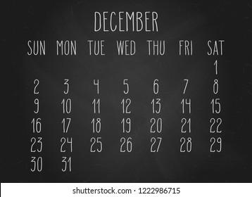Hand written chalk vector month calendar for December year 2018 over black chalkboard background.