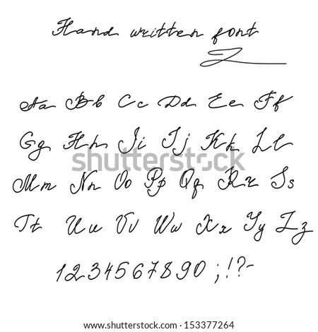 hand written english alphabet letters vector illustration