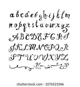 Hand written font. Set of vector doodle letters