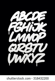 Hand written graffiti font alphabet. Vector