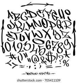 Hand written graffiti font alphabet. Vector lettering