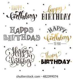 Hand written Happy birthday phrases in gold. Greeting card text templates isolated on white background. Happy Birthday lettering in modern calligraphy style.