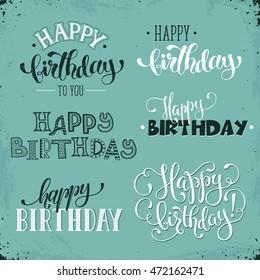 Happy Birthday Calligraphy Images, Stock Photos & Vectors