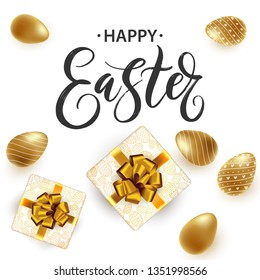 Hand written Happy Easter lettering cute poster. Modern bright background with golden Easter eggs and gift boxes. Invitation, card, promotion, poster, flyer, web-banner, social media. Vector.