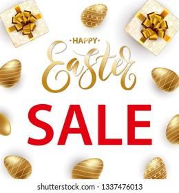 Hand written Happy Easter Sale template with realistic golden shine eggs. Happy Easter big hunt or sale banner with hand lettering and gift box. Invitation, card, promotion, poster, flyer, web-banner.