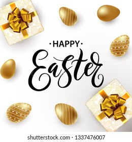 Hand written Happy Easter typography lettering poster. Beautiful bright background with golden Easter eggs and gift boxes. Invitation, card, promotion, poster, flyer, web-banner, social media. Vector.