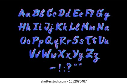 Hand written ink brush pen cursive alphabet, neon typeset of uppercase and lowercase letters on dark background. Retrofuturistic 1980s-1990s aesthetics of Synthwave/ Vaporwave style.