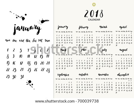 Hand Written Ink Calendar For 2018 Year Week Starts Monday Calligraphy Month Names