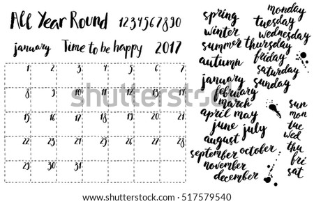 Hand Written Ink Monthly Planner Template Stock Vector Royalty Free