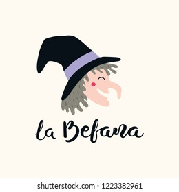 Hand written Italian lettering quote La Befana, Epiphany witch, with head drawing. Isolated objects on white background. Hand drawn vector illustration. Design concept, element for card, banner.